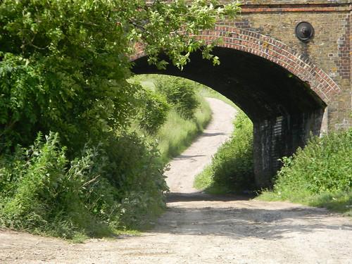 Under a rail bridge