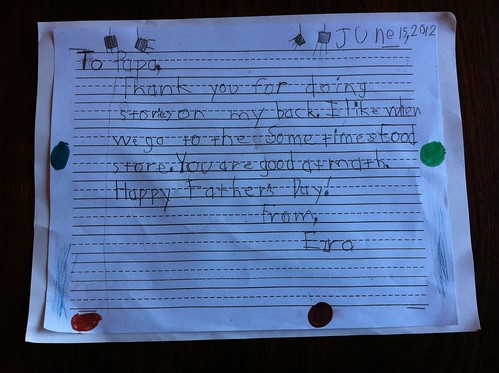 Ezra's Father's Day letter