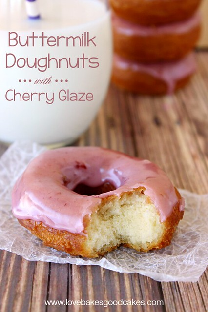Buttermilk Doughnuts with Cherry Glaze - An old-fashioned doughnut recipe with a simple cherry glaze! #breakfast #doughnuts