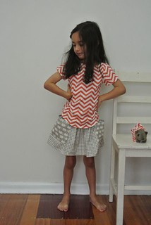 chevron top and triangle skirt