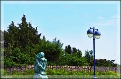 Statue and street lamp Kristiansand