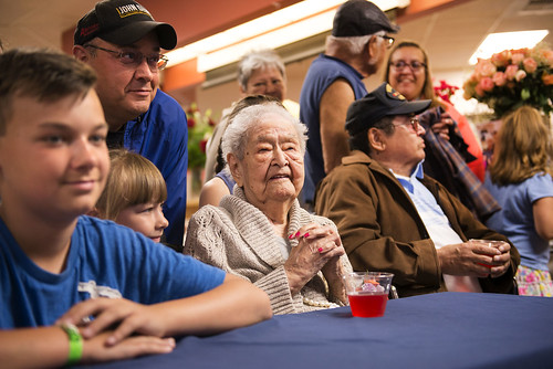 Fiocla Wilson, center, poses for photos with the family and friends who joined her June 30th for her 100th birthday.