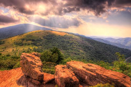 light sunset mountain clouds nc tn tennessee north gap trail carolina rays appalachian roan carvers