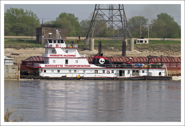 Tug Pushing Upriver
