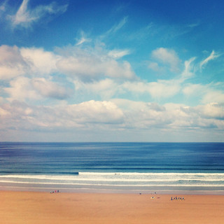 Nice day for a surf lesson! Watergate Bay at its best :)
