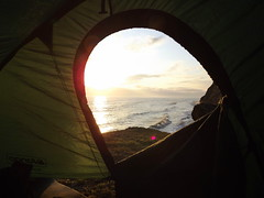 Camping by the sea.