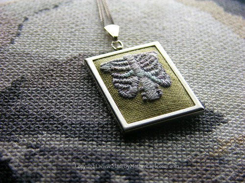 Silk Ribcage miniature embroidery pendant