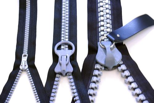 zipper size comparison for #10, #20 &#30 gauges