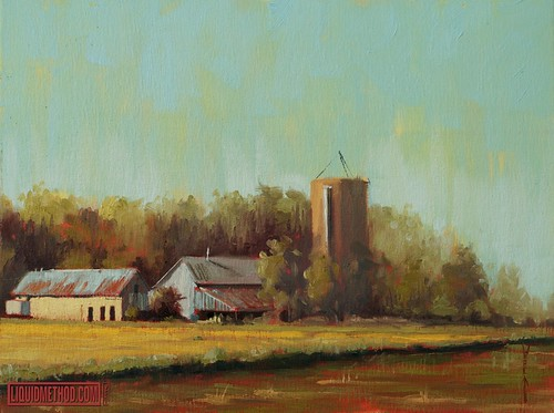 "Salem Road Farm, Plein Air 9x12"" Oil on Board"