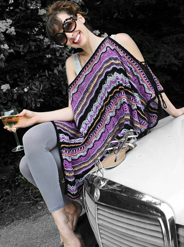 Multi Garment as Poncho with peek-a-boo sleeves by stitchdiva