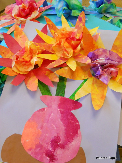 Painted paper coffee filter flowers flickr photo sharing for Painted paper flowers