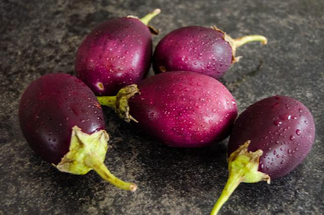 Aubergines for Bagara Baingan