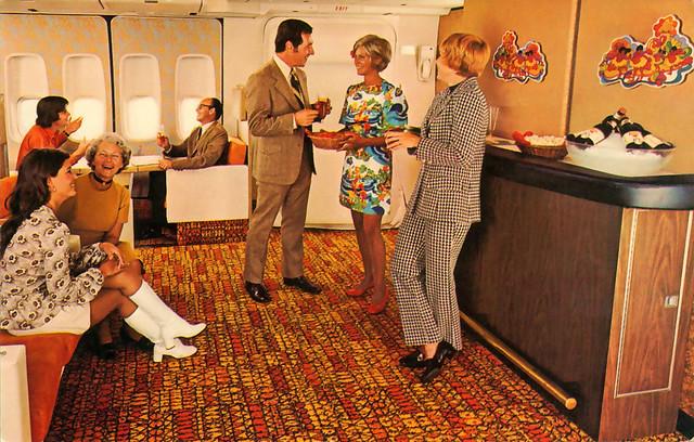 1970 ... 'coach' lounge 747 Jumbo-Jet