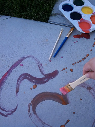 Homemade fizzy sidewalk painting