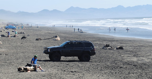 Vehicles allowed on the beach at the Wreck of the Peter Iredale - Fort Stevens State Park - Astoria, Oregon