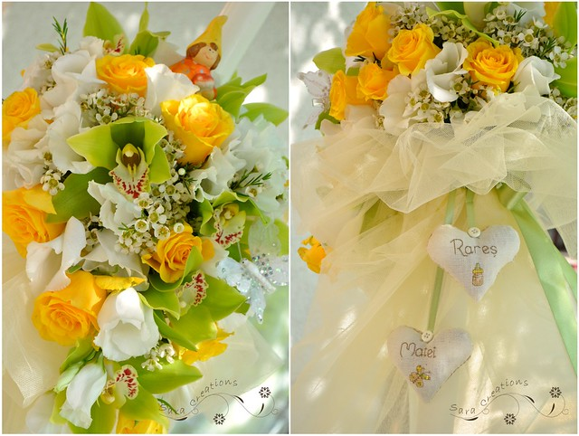 "Lumanare botez "" piticot "" - green and yellow christening candle"