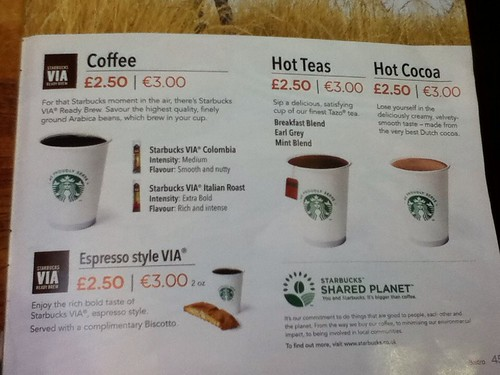 Easyjet Starbucks Menu