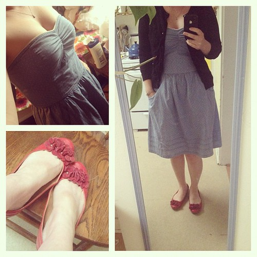 Definitely doing a red shoes thing this week. Pockets! Target dress, shoes and cardi from Marshall's.