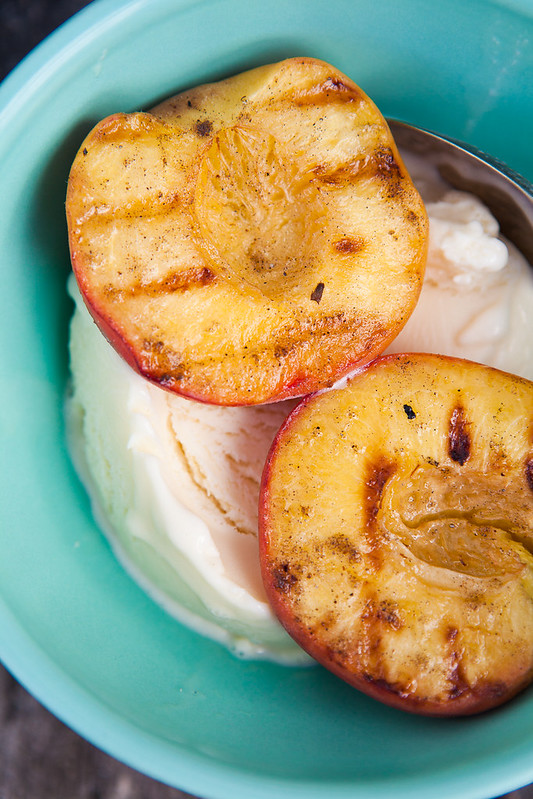 Grilled Peaches with Goat Milk Ice Cream