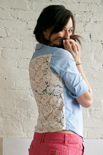 Lace & Chambray shirt diy