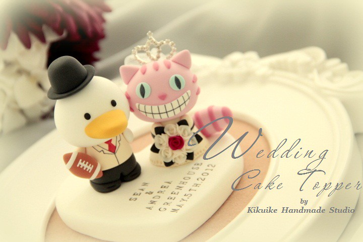 Wedding Cake Topper-Wonderland love cheshire cat and duck - a photo ...