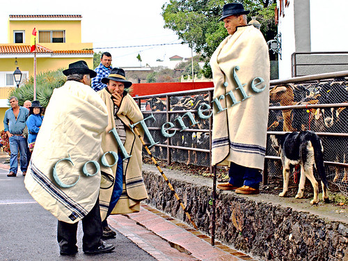 Tenerife shepherds wearinmg traditional Guanche cloaks