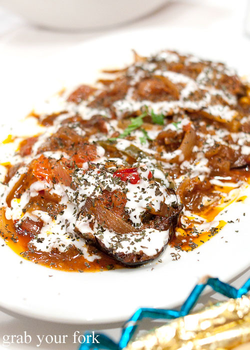 Banjan boranee Afghani fried eggplant at Bamiyan Restaurant, Five Dock