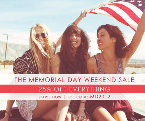 a memorial day ad featuring three women under a 25% off banner