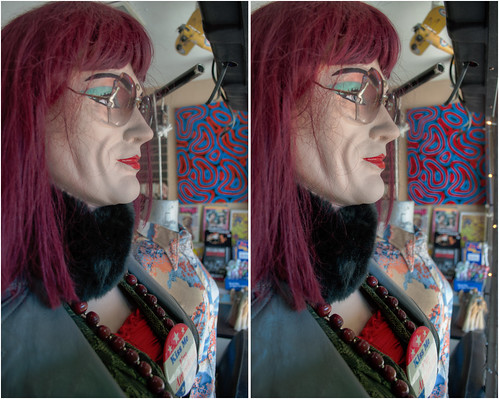 urban sculpture art window stereoscopic stereophotography 3d crosseye interior upstate saratogasprings upstateny handheld recordstore chacha windowdisplay hdr exhibits manikin 3dimensional crossview divinyl crosseyedstereo 3dphotography saratogaspringsny sitespecificart 3dstereo takenoffthestreet divinylrevolution