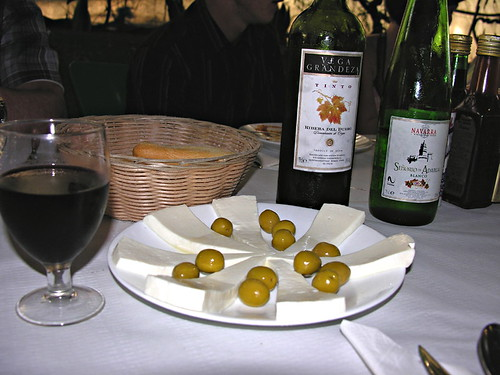 Goats' cheese and olives