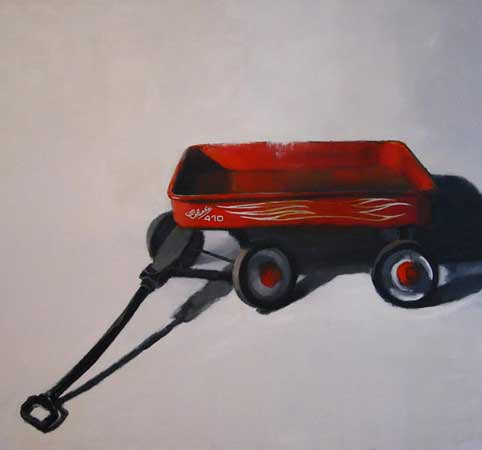 "Stephen Coyle, Weed pullers wagon, alkyd on linen, 48"" x 52"""