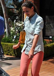 Katie Holmes Denim Shirt Celebrity Style Woman's Fashion