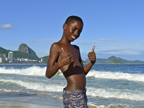 Happy boys at Copacabana Beach