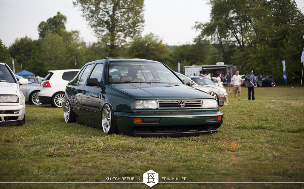 sequoia green mk3 vw jetta low on schmidt modern lines at southern worthersee 2012