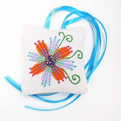 French Lavender Sachet Embroidered Flowers Satin Ribbon