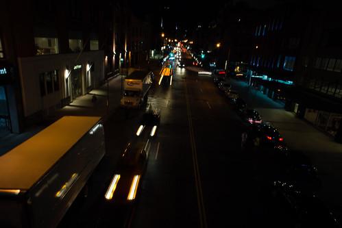High Line Park, night, lights