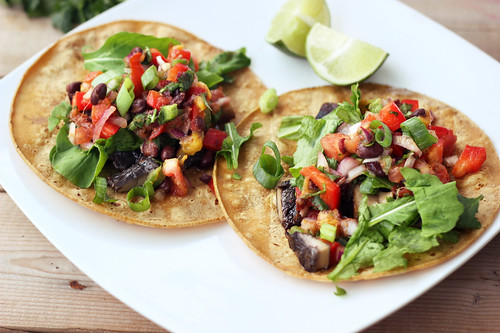 Grilled Portobello Mushroom Tacos with Mango Black Bean Salsa - Gluten-free + Vegan