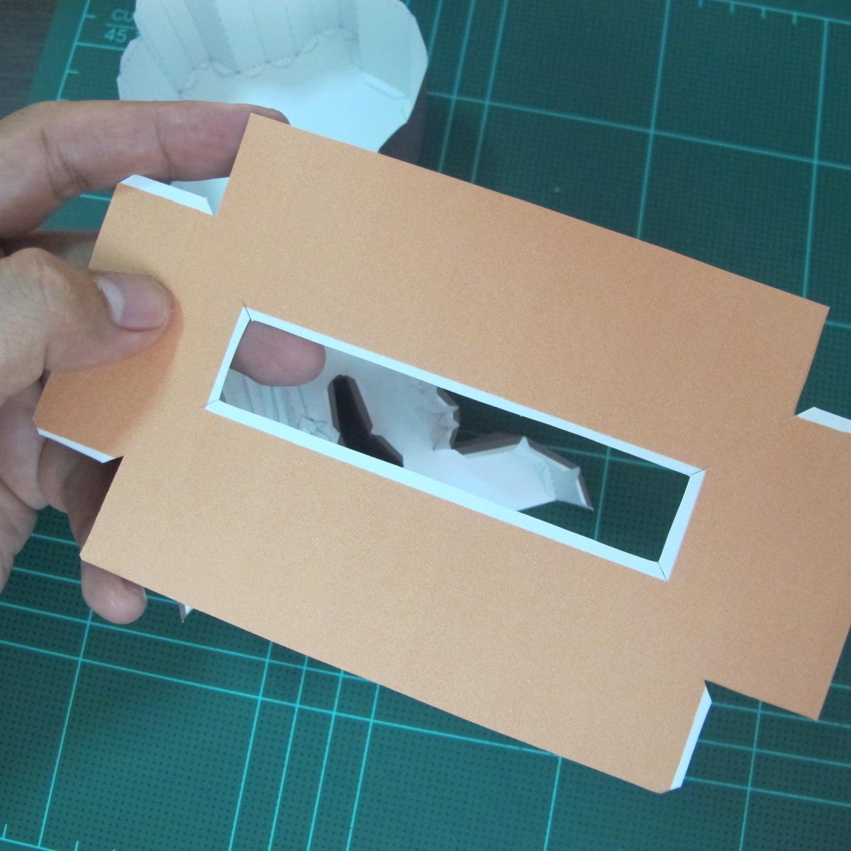 วิธีทำโมเดลกระดาษ ตุ้กตาไลน์ หมีบราวน์ ถือพลั่ว (Line Brown Bear With Shovel Papercraft Model -「シャベル」と「ブラウン」) 023