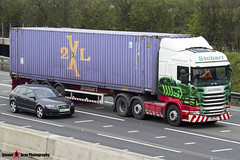 Scania R440 6x2 Tractor with 3 Axle Container Trailer - PK11 NLO - Glenda Lucille - Eddie Stobart - M1 J10 Luton - Steven Gray - IMG_7188