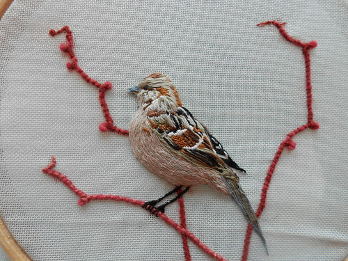 stumpwork sparrow by Sewphie T