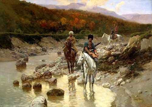 Franz Roubaud - Cossacks in the Mountain River [1898] by Gandalf's Gallery
