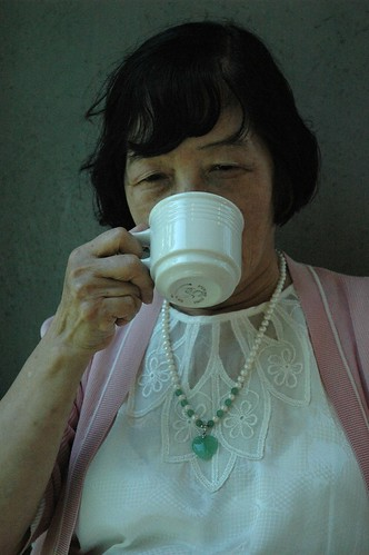 Artist Reiko enjoying tea at the Frye Art Museum, Seattle, Washington, USA by Wonderlane