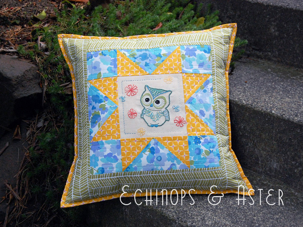 """Have a Hoot"" Embroidered Owl Cushion (Feather Your Nest ENTRY)"
