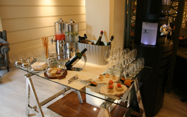 Private lounge for guests serves light snacks, Nespresso, TWG teas, plus complimentary wines, champagnes, juices and canapes during evening cocktail hour