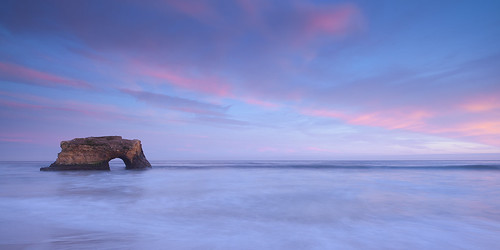 ocean california santa ca sunset sea clouds colorful arch natural pacific pastel bridges cruz seastack