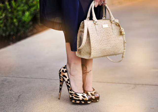 Leopard Print Shoes  -  ostrich brahmin  bag