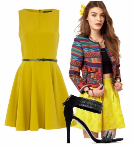 spring fashion floral jacket over yellow dress