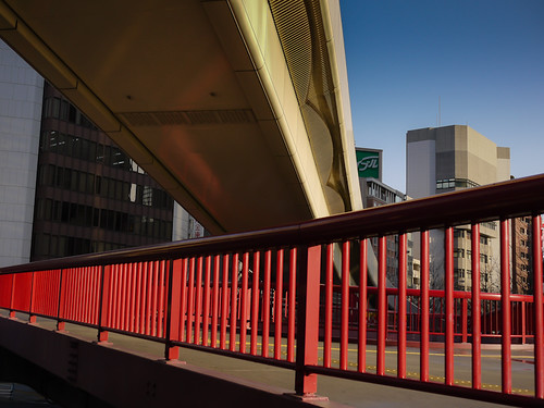 Red pedestrian bridge by hyossie