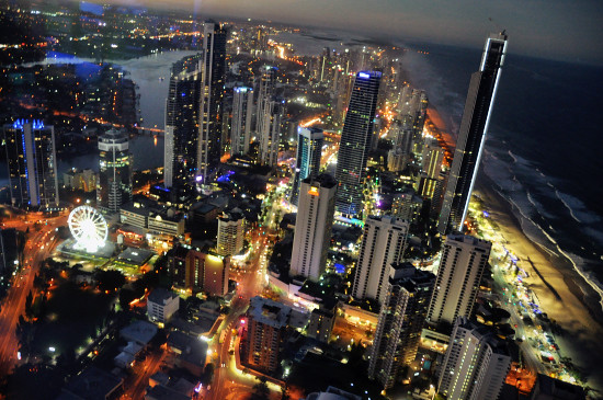 Night View on Q1 Skypoint Observation Deck Gold Coast