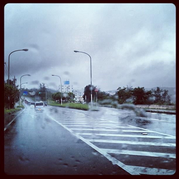 土砂降りとまでは言わないが、朝から間断なく強い雨。とても、どこか行ったりドライブする気になれないし、飛行機の時間も時間なので、空港直行かな。